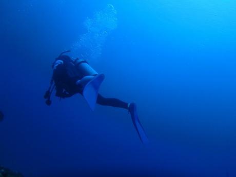 海底にて中性浮力を学ぶ